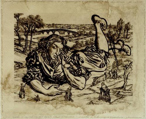"Иллюстрация к книге Джонотана Свифта ""Питешествия Гулливера"""
