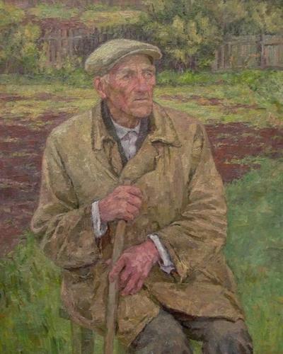 Старик на огороде