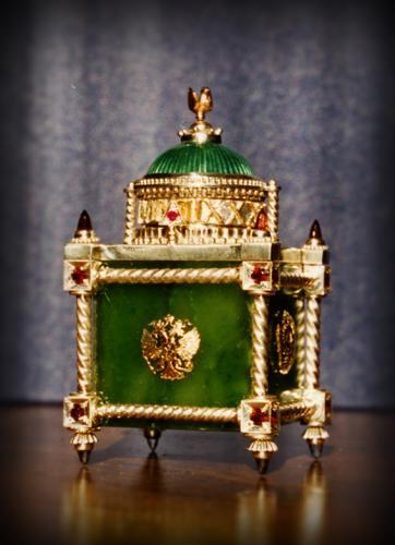 часы высота 6,5 см. серебро 925 золото585 нефрит, гиацинты, гранаты, морионы, эмаль.